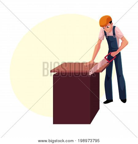 Construction worker, builder, carpenter sawing wooden plank, cartoon vector illustration with space for text. Full length portrait of builder, carpenter, worker working with a saw