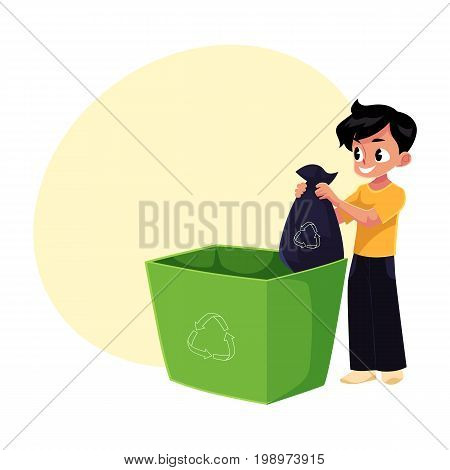 Boy putting garbage bag into trash bin, waste recycling concept, cartoon vector illustration with space for text. Full length portrait of boy throwing garbage bag into trash bin