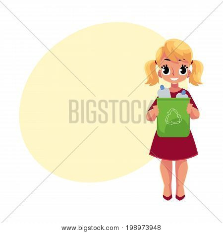 Girl holding trash bin with plastic bottles, garbage recycling concept, cartoon vector illustration with space for text. Full length portrait of girl with trash bin full of plastic bottles
