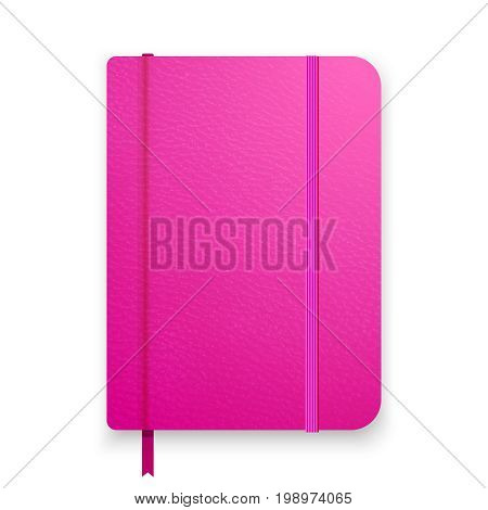 Realistic pink notebook with green elastic band. Top view diary template. Girlish vector notepad mockup. Closed diary on white background