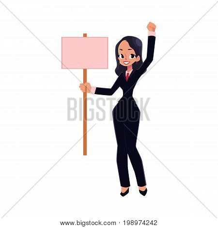 Smiling girl, woman, businesswoman on strike holding empty board in hand, cartoon vector illustration isolated on white background. Business woman with empty board on strike, full length portrait