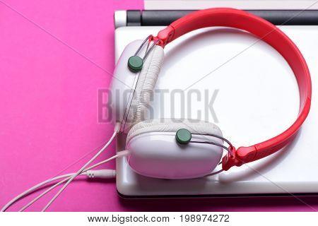 Sound Recording Idea. Electronics On Magenta Pink Background