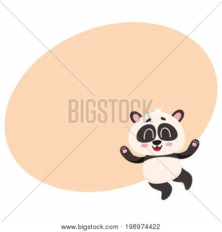 Cute and funny smiling baby panda character jumping from happiness, cartoon vector illustration with space for text. Happy little panda bear character, mascot jumping excitedly