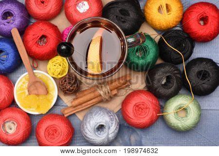 Yarn Balls, Wine, Honey And Cinnamon Sticks, Selective Focus
