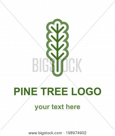 Pine or fir tree minimalistic logo concept. Coniferous tree monoline logotype template. Suitable as a forestry, ecological or environmental symbol. Vector design element isolated on white background.