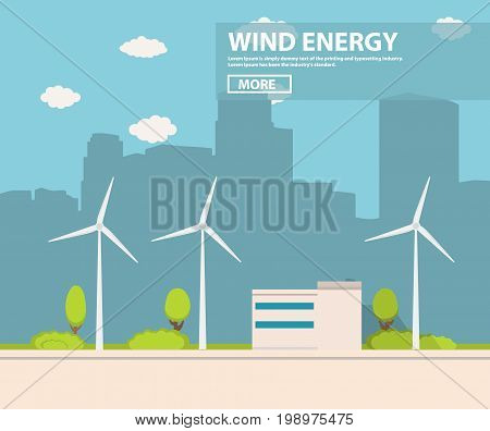 Landscape from wind generators in flat style.Element of design of infographics. alternative power engineering energy technology.Green electric technologies.