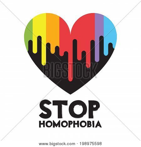 Vector an illustration with the inscription Stop Homophobia.Vector card for the International Day Against Homophobia.Vector rainbow LGBT flag