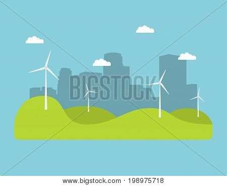 Winds generators a vector an illustration in flat style.Element of design of infographics. alternative power engineering energy technology.Green electric technologies.