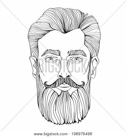 The face of a bearded man. Vector portrait illustration, isolated on white background. Outline drawing.