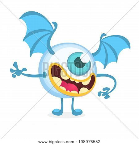 Cartoon flying monster cyclop. Vector character isolated