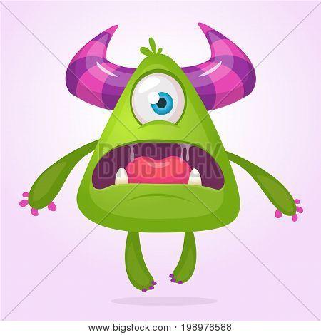 Cartoon vector monster. Monster alien illustration with surprised expression. Shocking green alien design for Halloween