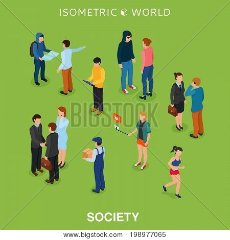 Isometric flat people crowd vector illustration. Different man and woman stand, talk, call phone and walk. Society members, social network 3d isometry concept.