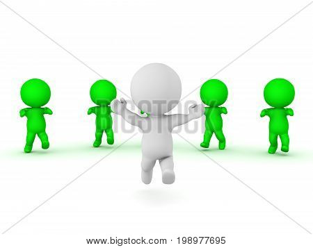 3D Character running away from zombies. Isolated on white.