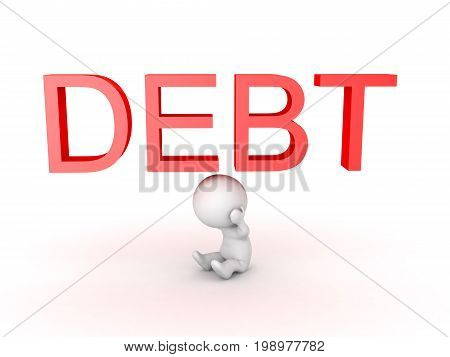 3D Character is stressed about debt. Isolated on white.
