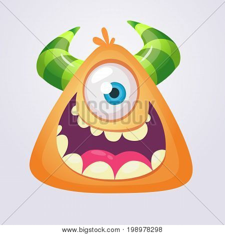 Cartoon monster icon. Yellow monster cyclop head smiling. Vector illustration.