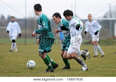 KAPOSVAR, HUNGARY - MARCH 19: Krisztian Kirchner (6) in action at the Hungarian National Championship under 19 game between Kaposvar and Paks on March 19, 2011 in Kaposvar, Hungary.