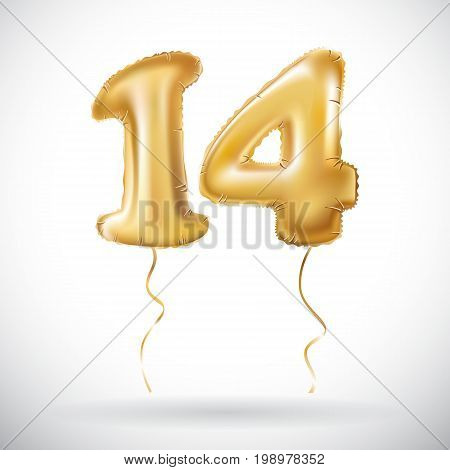 Vector Golden 14 Number Fourteen Metallic Balloon. Party Decoration Golden Balloons. Anniversary Sig