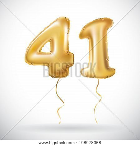 Vector Golden 41 Number Forty One Metallic Balloon. Party Decoration Golden Balloons. Anniversary Si