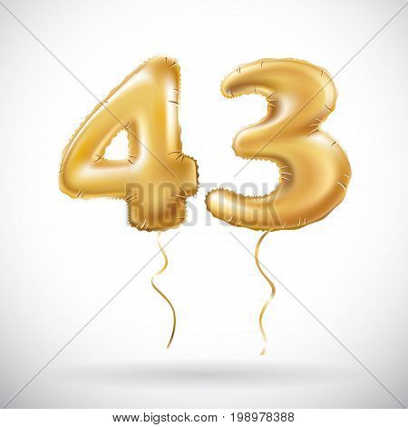 Vector Golden 43 Number Forty Three Metallic Balloon. Party Decoration Golden Balloons. Anniversary