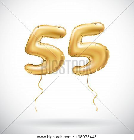 Vector Golden Number 55 Fifty Five Metallic Balloon. Party Decoration Golden Balloons. Anniversary S