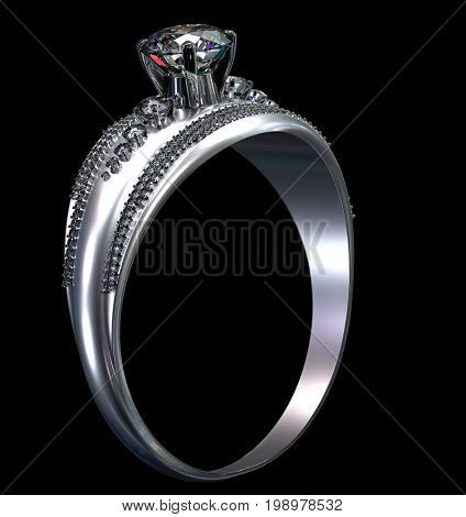 White gold engagement ring with diamond gem. Luxury jewellery bijouterie from silver or platinum with gemstone. 3D rendering on black background.