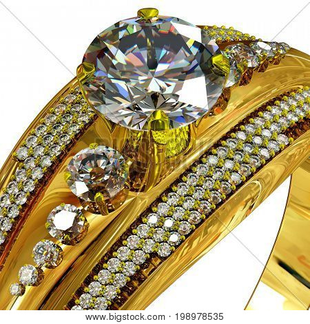 Gold ring with gem. Cropped shot of macro luxury jewellery bijouterie with gemstone for people in love . Top view on isolated. 3D rendering
