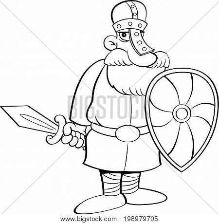 Black and white illustration of a medieval knight holding a shield and a sword.