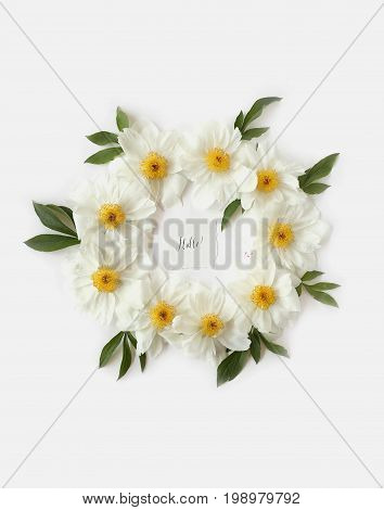 Flat Lay Floral Frame Made Of White Peony Flowers And Big Green Leaves. Hallo Art Hand Drawn Text De