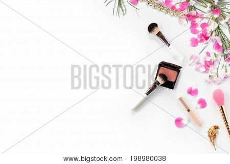 Beauty blog concept flat lay still life of fashion woman objects on white background. Top view.