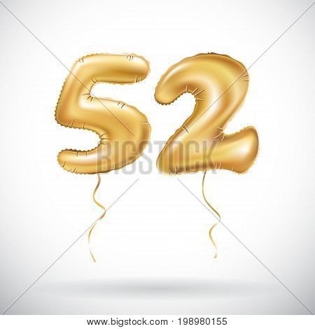 Vector Golden Number 52 Fifty Two Metallic Balloon. Party Decoration Golden Balloons. Anniversary Si