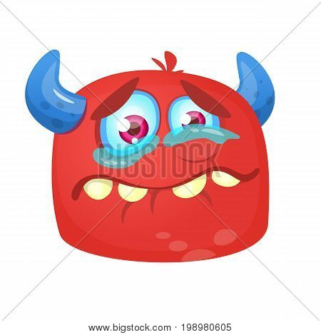 Crying cartoon monster icon. Halloween vector red and horned monster alien sad expression. Design for emblem or sticker