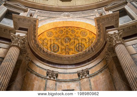 ROME ITALY - OCTOBER 18 2016: Interior of the famous Pantheon church. The present building was completed by the emperor Hadrian and probably dedicated about 126 AD.