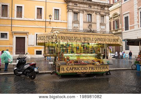 ROME ITALY - OCTOBER 18 2016: Frutteria or fruit stand in the city center of Rome