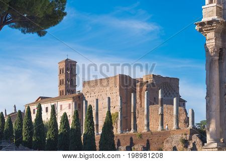 Ruins of the Venus and Roma temple in the center of Rome Italy