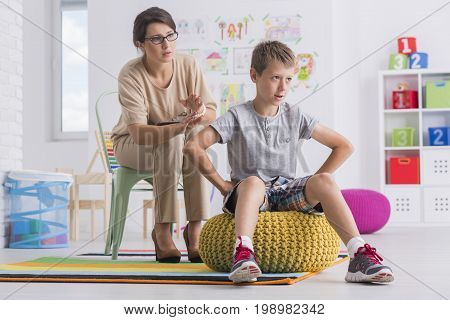Child Turning Back On Therapist