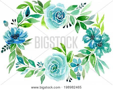 Greetings card, a wreath of blue flowers and leaves, isolated on white background, hand-painted watercolor illustration and paper texture