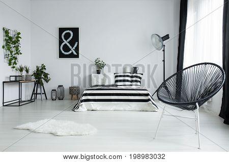 Designed Black Chair In Modern Bedroom