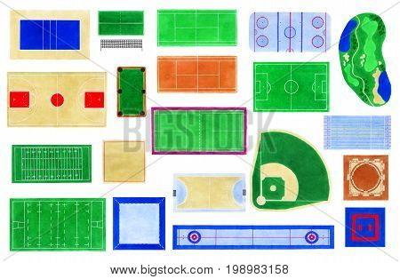 Sport fields watercolor set Hand-drawn field layouts for games top view championship objects courts on the white background Real drawing