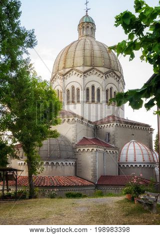 Lizzano in Belvedere Bologna ITALY - July 27 2017: Saint Mamante Parish church with its original large dome was rebuilt in 1931.