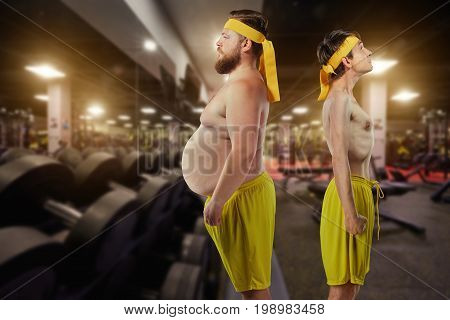Comical freak funny fat and thin mans in gym.