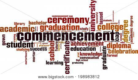 Commencement word cloud concept. Vector illustration on white