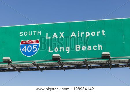 LAX Airport and Long Beach overhead freeway sign on Interstate 405 south in Los Angeles, California.