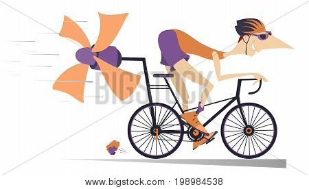 Cartoon man rides a bike isolated. Smiling man in helmet on the bike tries to ride faster using a propeller