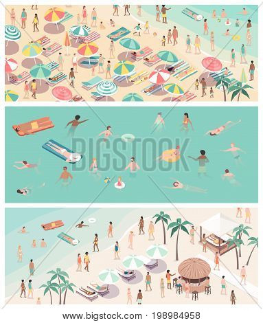 Summer vacations at the seaside beach banners set with happy people sunbathing and swimming