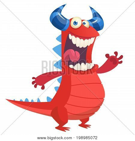 Angry cute cartoon red monster dragon laughing. Vector illustration of red horned monster