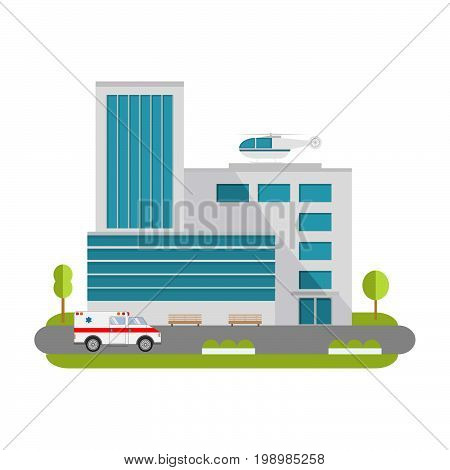 City hospital building with ambulance flat style and the car and the helicopter of medical care.Concept for infographics and design