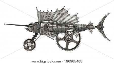 Steampunk style sailfish. Mechanical animal photo compilation