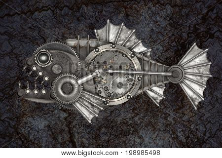 Steampunk style piranha. Mechanical animal photo compilation
