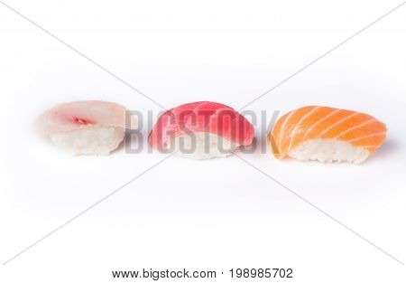 Set of three sushi isolated at white background. Salmon, tuna and seebas nigiri. Asian healthy restaurant food delivery