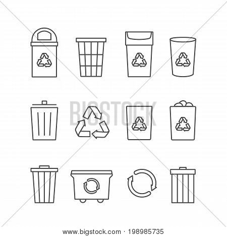 Recycle waste bins vector linear icons, recycle symbol